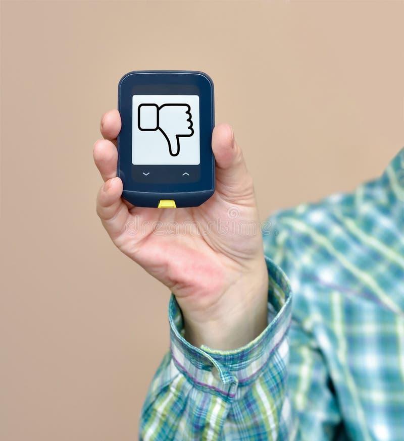 Tecken för MOTVILJA för glukosmetershower arkivbild
