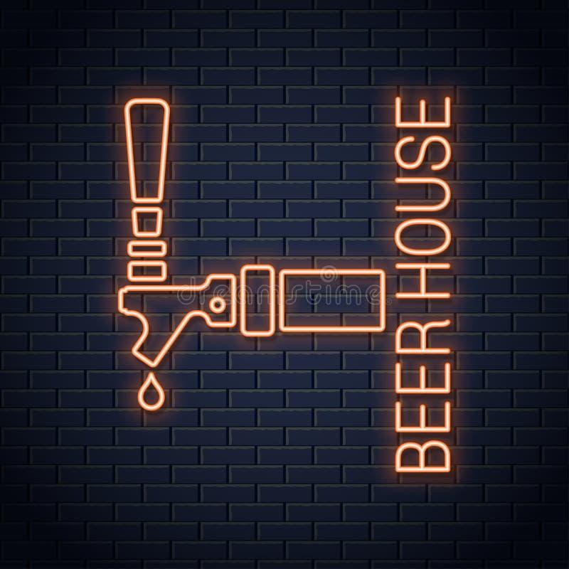 Tecken för neon för ölklapplogo Symbol för ölhusneon på väggbakgrund royaltyfri illustrationer