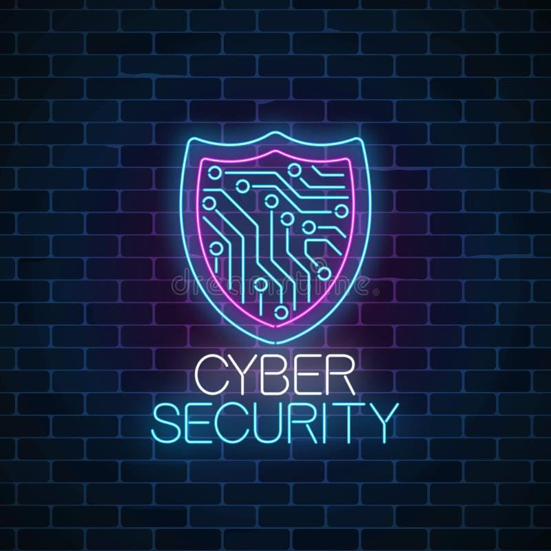 Tecken för neon för Cybersäkerhet glödande på mörk bakgrund för tegelstenvägg Internetskyddssymbol med sköld- och strömkretsbräde stock illustrationer