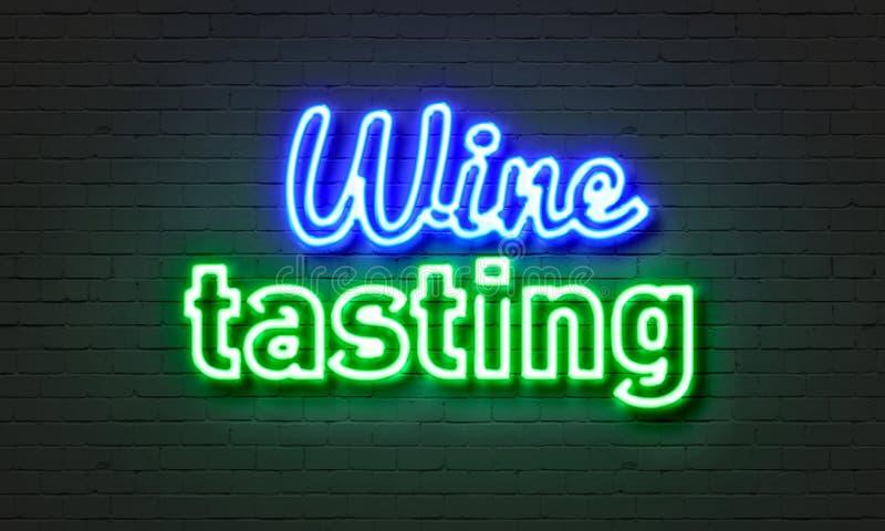 Tecken för neon för vinavsmakning på bakgrund för tegelstenvägg arkivfoto