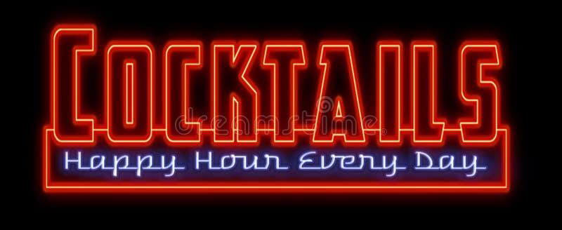 Tecken för neon för lycklig timme för coctailar royaltyfri illustrationer