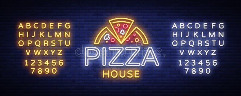 Tecken för neon för pizzalogoemblem Logo i neonstil, ljust neontecken med italiensk matbefordran, pizzeria, mellanmål, kafé stock illustrationer