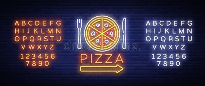 Tecken för neon för pizzalogoemblem Logo i neonstil, ljust neontecken med italiensk matbefordran, pizzeria, mellanmål, kafé vektor illustrationer