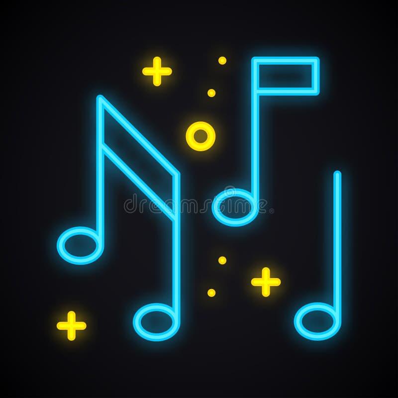 Tecken för neonmusikanmärkning Glödande karaokemusiksymbol Klubba rekord, disko, dans, discjockeypartitema royaltyfri illustrationer