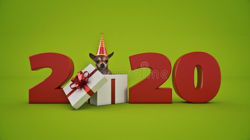 Tecken för nytt år för begrepp 2020 för hundfödelsedagparti royaltyfri illustrationer