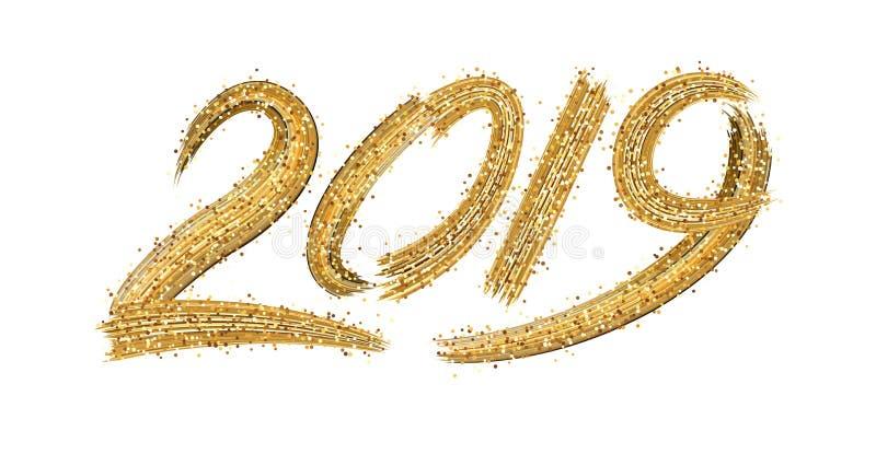 Tecken för nytt år 2019 med guld- borsteslaglängder på vit bakgrund royaltyfri illustrationer