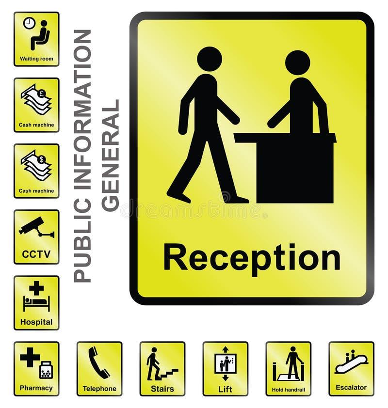Tecken för offentlig information stock illustrationer