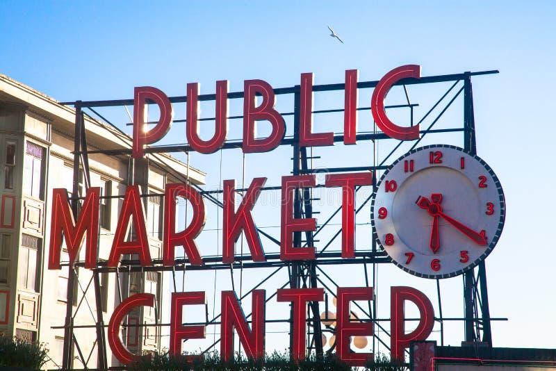 Tecken för offentlig marknad, pikställe, seattle arkivfoton