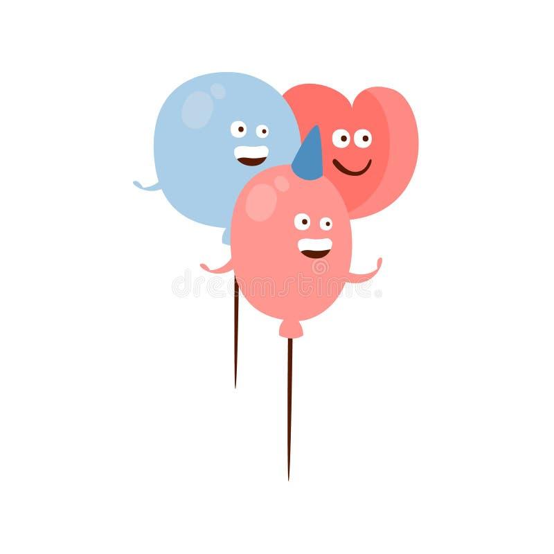 Tecken för olik Shape ballongbarn för födelsedag för tre lyckligt humaniserat för parti tecknad film för attribut i flickaktigt f royaltyfri illustrationer