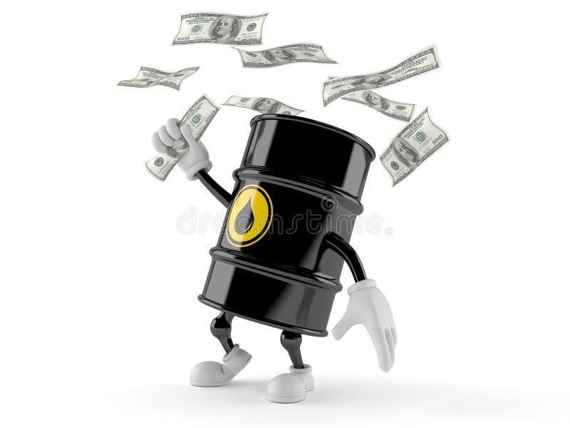 Tecken för olje- trumma som fångar pengar royaltyfri illustrationer