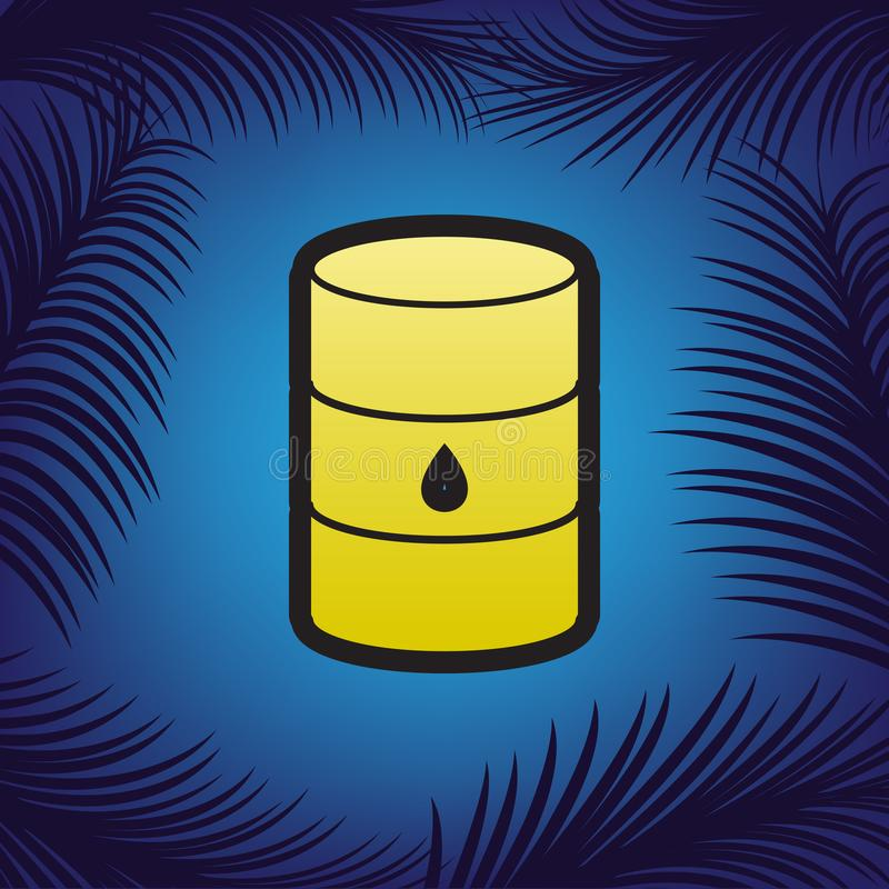 Tecken för olje- trumma vektor Guld- symbol med svart kontur på blått royaltyfri illustrationer