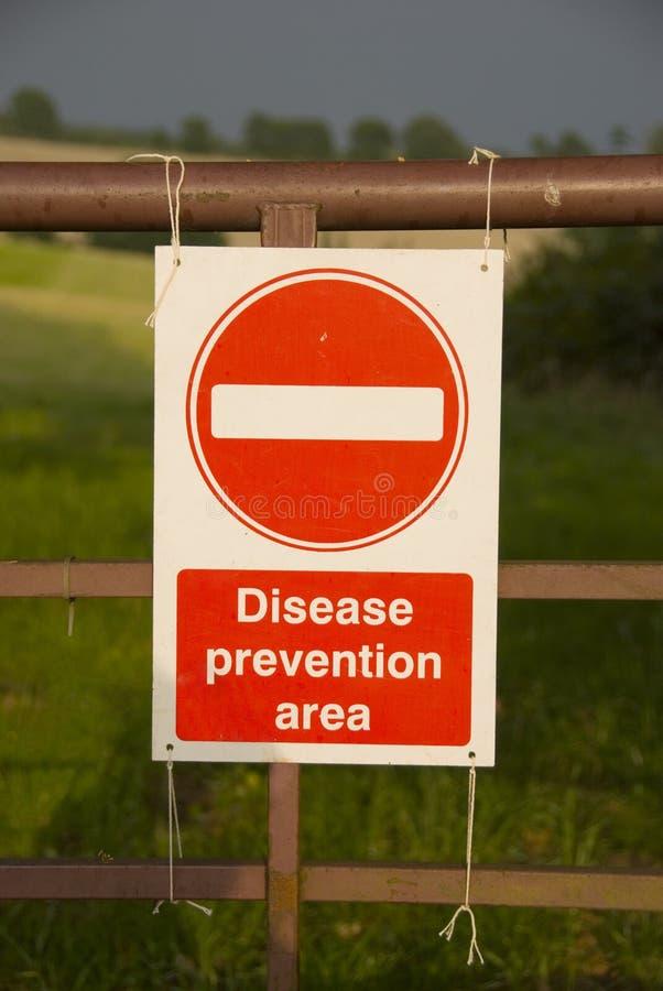 tecken för områdessjukdomförhindrande arkivbild