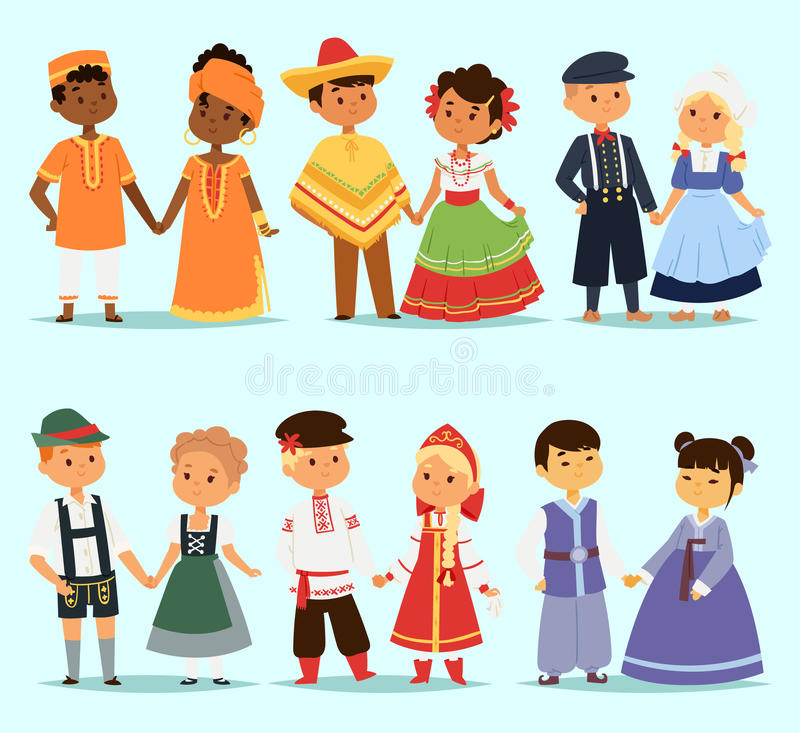 Tecken för par för Lttle ungebarn av världsklänningflickor och pojkar i olika traditionella medborgaredräkter och gulligt stock illustrationer