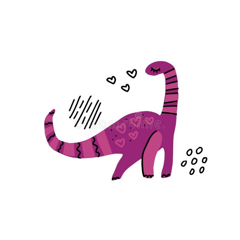 Tecken för plan hand för Dino flickafärg utdraget Gullig purpurfärgad dinosaurie Flickamaktbegrepp Skissa Quaesitosaurus med deko royaltyfri illustrationer