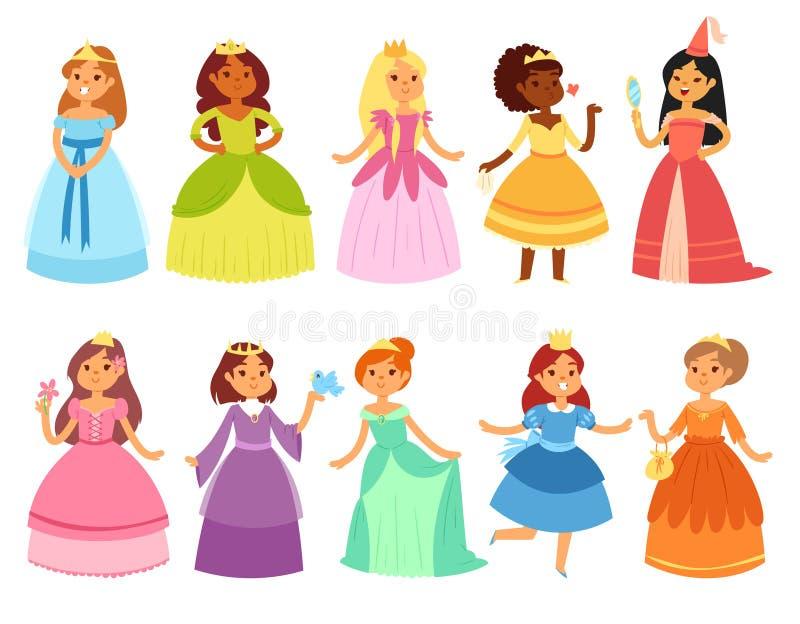 Tecken för prinsessavektorliten flicka i härlig flickaktig klänning med uppsättningen för kronaillustrationfe av tecknad filmpers stock illustrationer