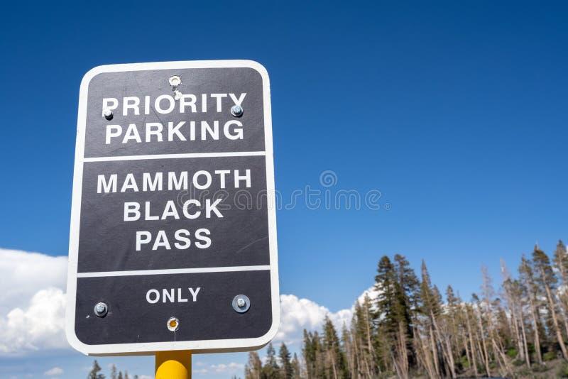 Tecken för prioritetsparkering - kolossalt svart passerande för passerandehållare nära den huvudsakliga logen av arkivfoton