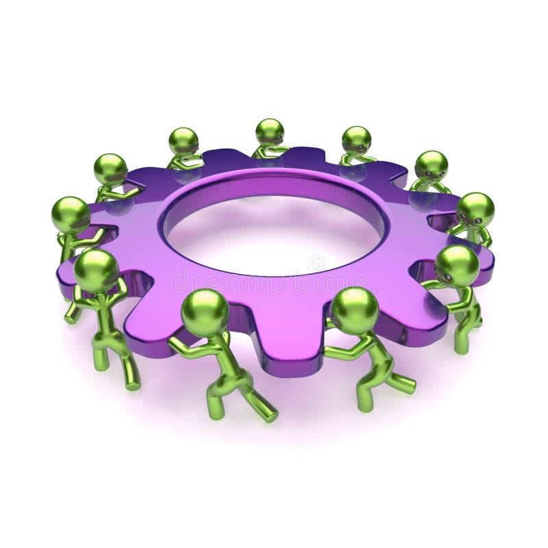 Tecken för process för teamworkkugghjulaffär, purpurfärgat kugghjulhjul vektor illustrationer