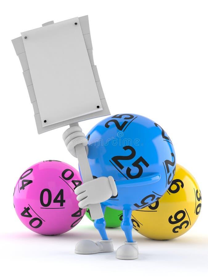 Tecken för protest för innehav för lottobolltecken stock illustrationer