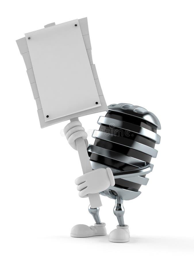 Tecken för protest för mikrofonteckeninnehav stock illustrationer