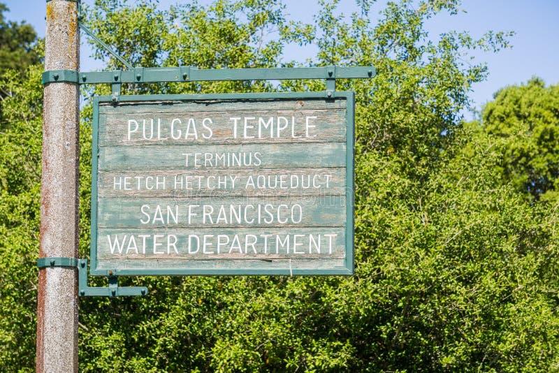 Tecken för Pulgas vattentempel, San Francisco Bay, Kalifornien arkivbilder