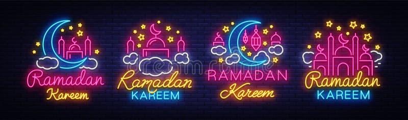 Tecken för Ramadan Kareem samlingsneon Ramadan Kareem vektorbaner i neonstil, ljus skylt för natt, beröm av stock illustrationer