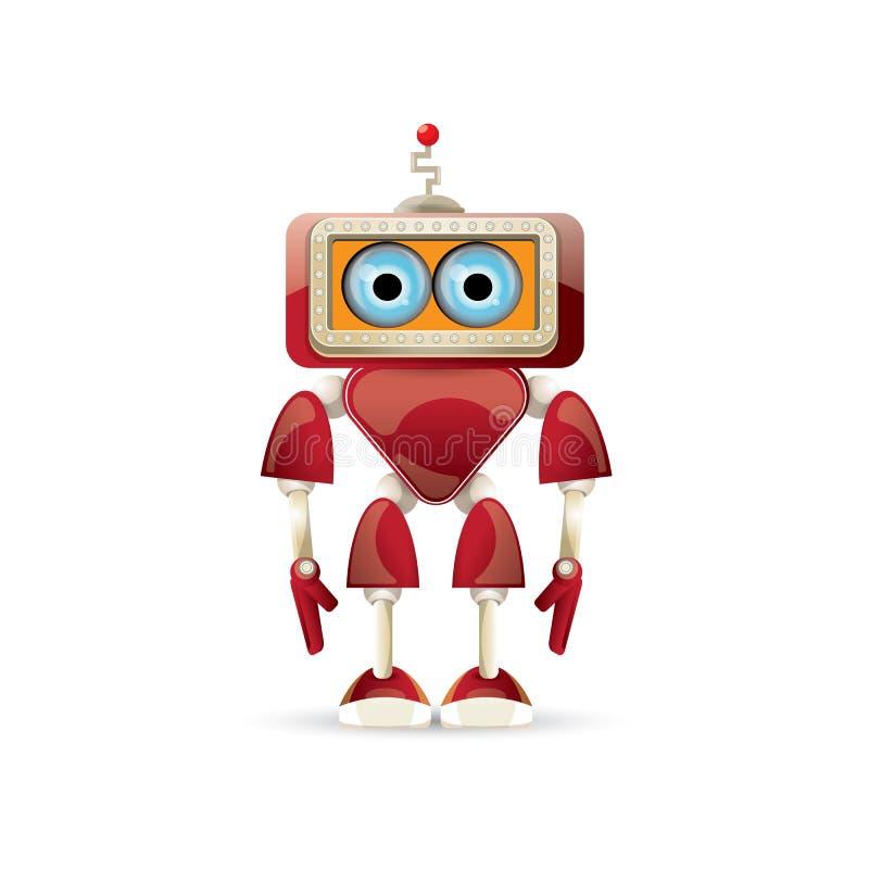 Tecken för robot för rolig tecknad film för vektor som rött vänligt isoleras på vit bakgrund Lurar leksaken för roboten 3d Pratst vektor illustrationer