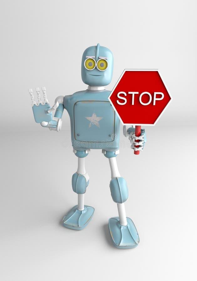Tecken för robothållstopp, 3d att framföra stock illustrationer