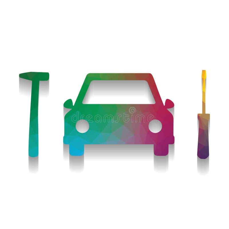 Tecken för service för reparation för bilgummihjul vektor Färgrik symbol med ljust stock illustrationer