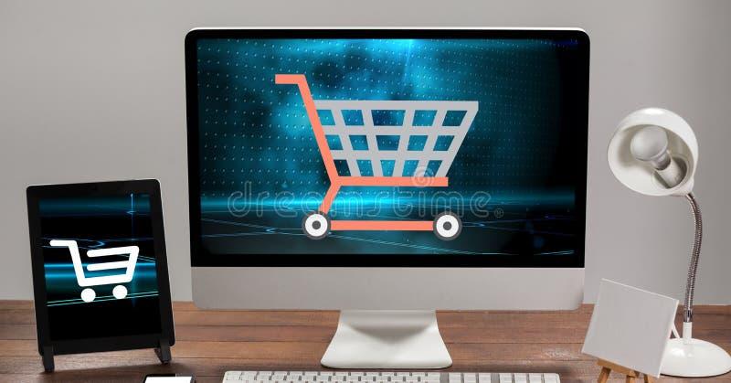 Tecken för shoppingvagn på skärmar vektor illustrationer