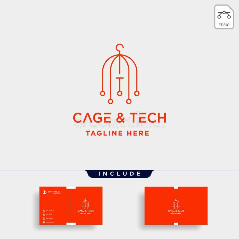 tecken för siymbol för symbol för hus för wifi för vektor för design för fågelburinternetlogo royaltyfri illustrationer