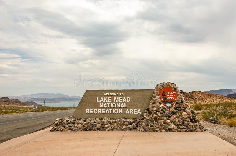 Tecken för sjön Mead National Recreation Area royaltyfri fotografi