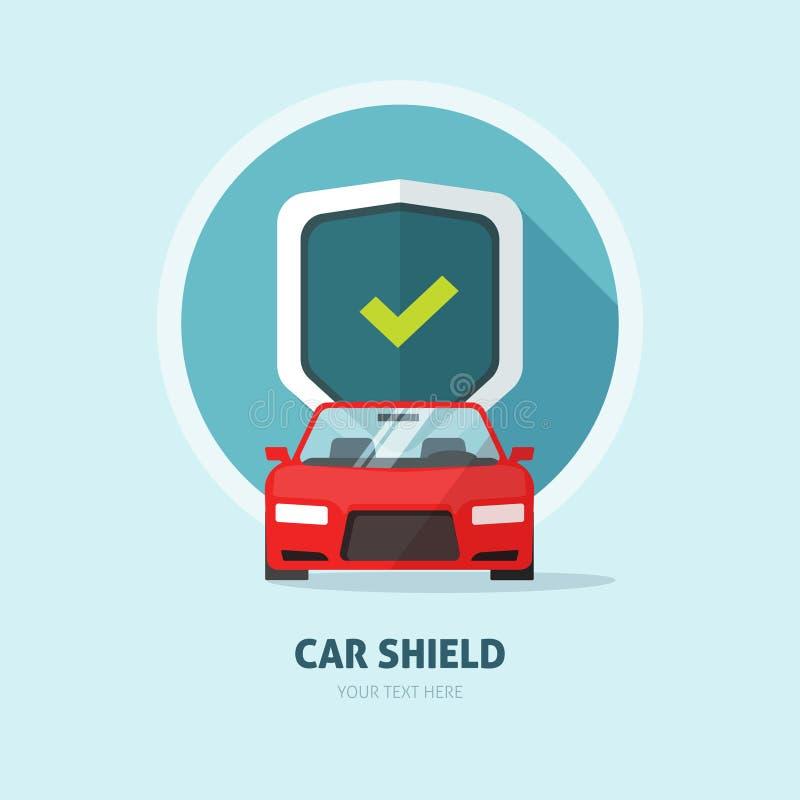 Tecken för sköld för bilvaktskydd, sammanstötningsförsäkringlogo, automatiskservice stock illustrationer
