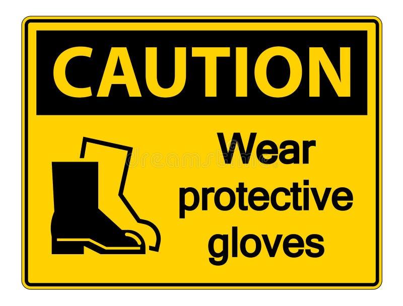 tecken för skodon för stmbolvarningskläder skyddande på genomskinlig bakgrund vektor illustrationer