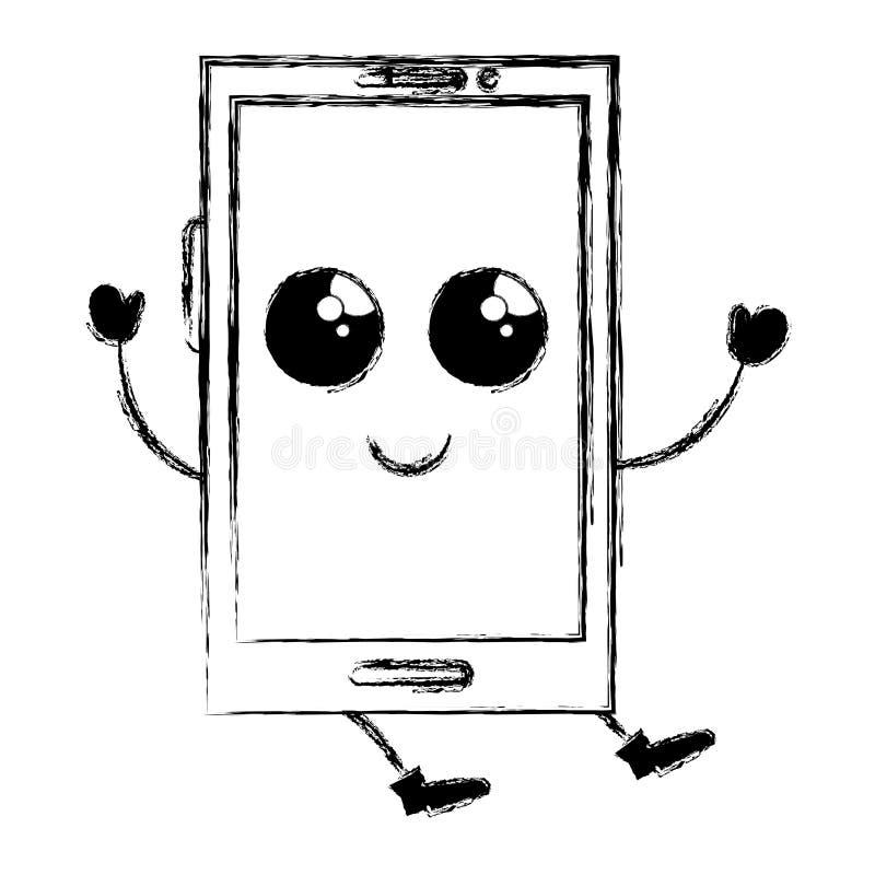 tecken för smartphoneapparatkawaii royaltyfri illustrationer