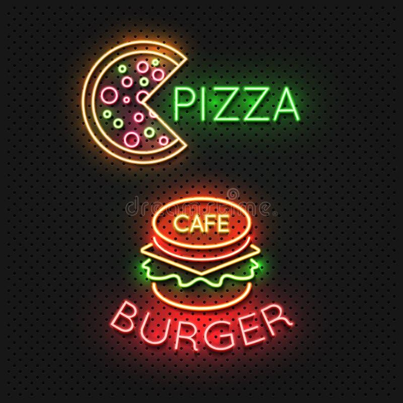 Tecken för snabbmatkaféneon - pizza- och hamburgareneonbaner royaltyfri illustrationer