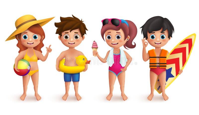 Tecken för sommarungevektor ställde in med pojkar och flickor som bär simma bollen för bikiniinnehavstranden royaltyfri illustrationer
