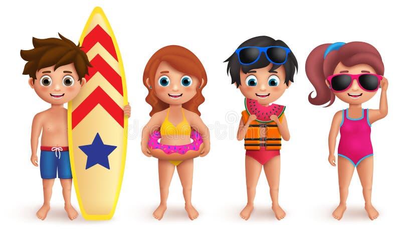 Tecken för sommarungevektor ställde in med pojkar och flickor som spelar utomhus- och hållande strandbeståndsdelar vektor illustrationer