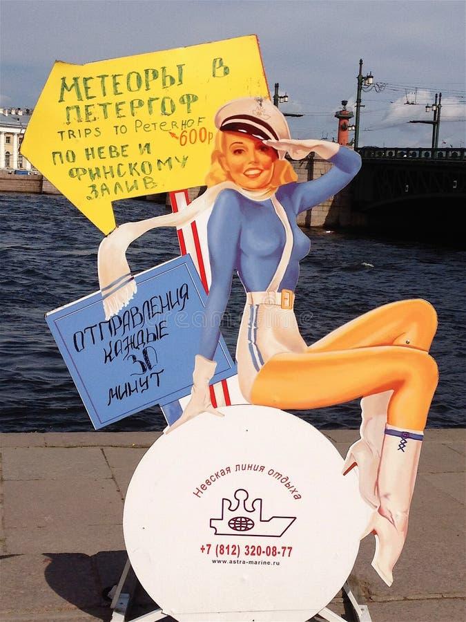 Tecken för St Petersburg vattentaxi som visar tappningkonstdesign arkivfoto