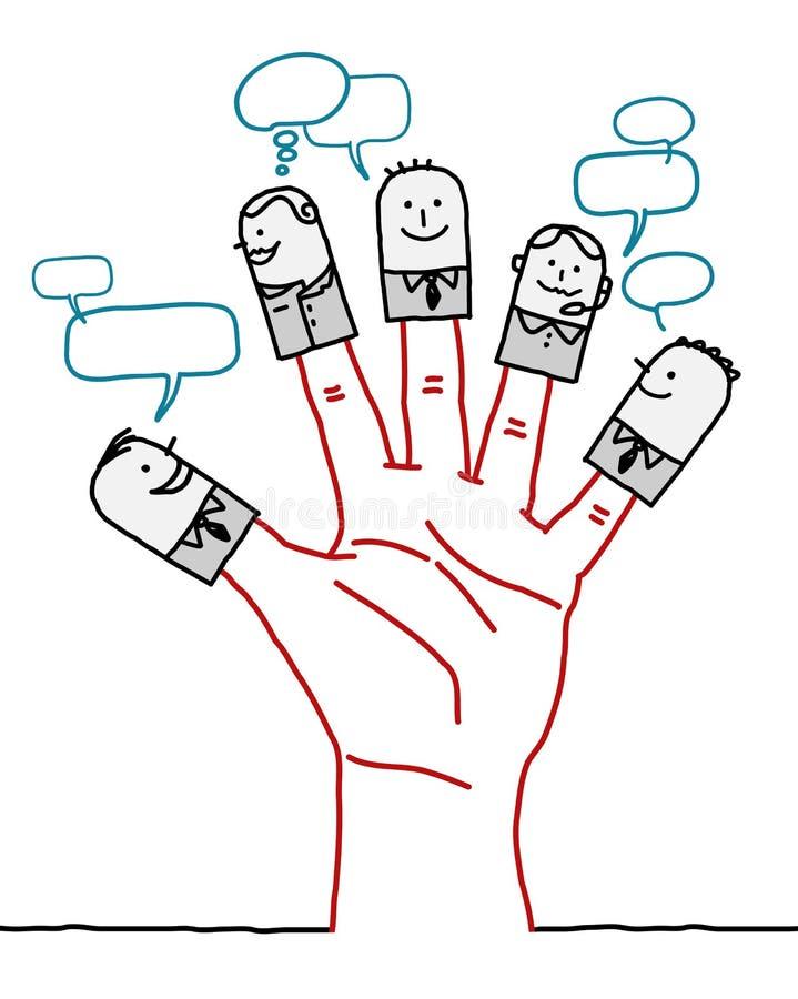 Tecken för stor hand och tecknad film- socialt affärsnätverk royaltyfri illustrationer