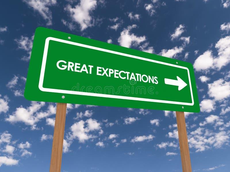Tecken för stora förväntningar arkivbild