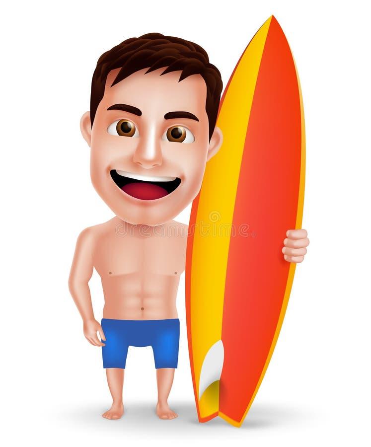 Tecken för surfaremanvektor med muskler som rymmer surfingbrädan för sommar stock illustrationer
