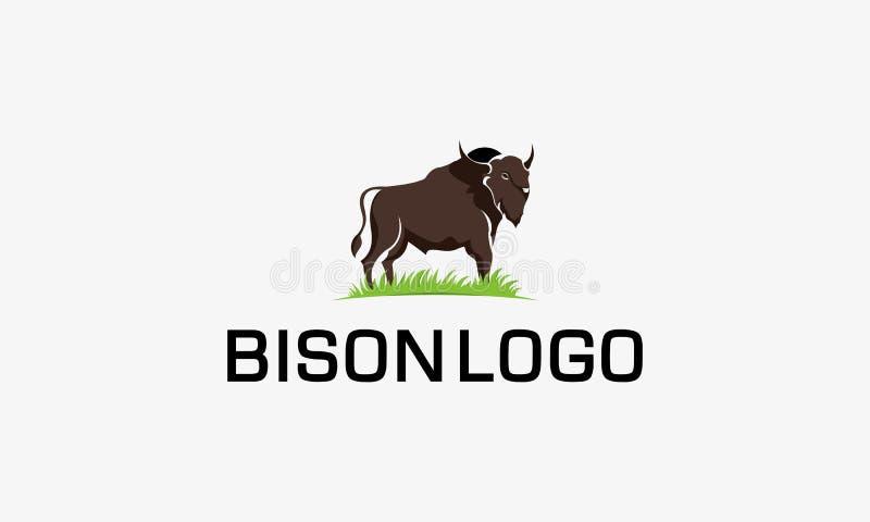 Tecken för symbol för bisonlogovektor, åkerbruk illustrationlogo stock illustrationer