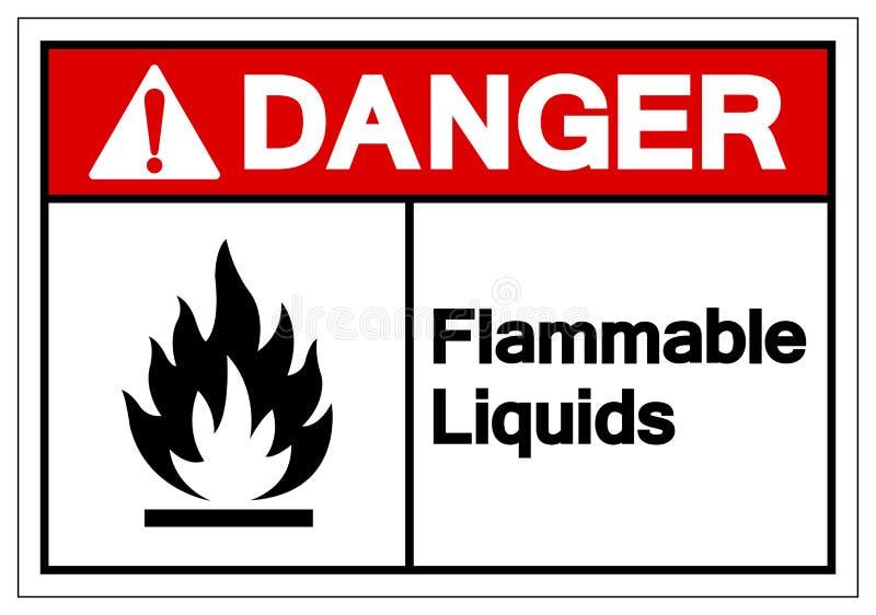 Tecken för symbol för brännbara flytande för fara, vektorillustration, isolat på den vita bakgrundsetiketten EPS10 vektor illustrationer