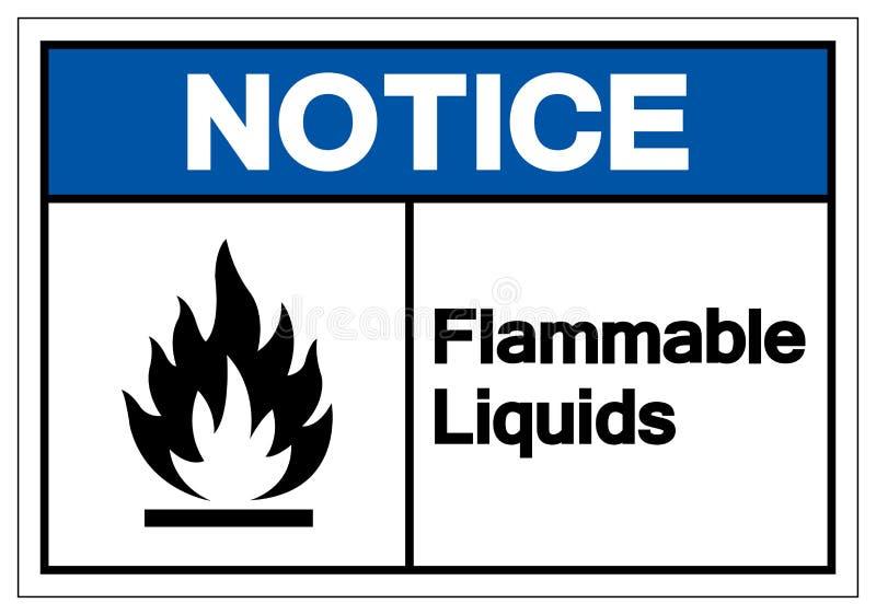 Tecken för symbol för brännbara flytande för meddelande, vektorillustration, isolat på den vita bakgrundsetiketten EPS10 stock illustrationer