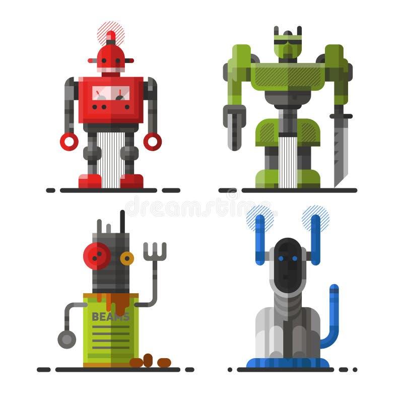 Tecken för symbol för beståndsdel för futuristisk design för leksak och för cyborg för vetenskap för gullig maskin för tappningro vektor illustrationer