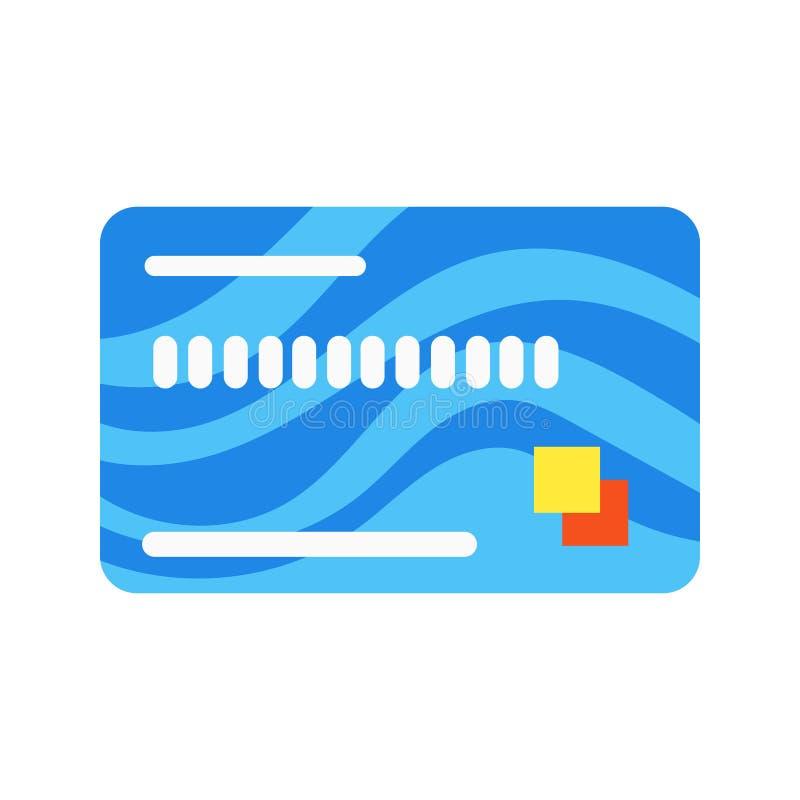 Tecken för symbol för illustration för vektor för design för stil för krediterings- eller debetkontokort som plant isoleras på vi stock illustrationer