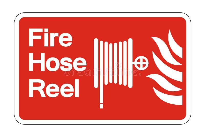 tecken för symbol för rulle för symbolbrandslang på vit bakgrund, vektorillustration royaltyfri illustrationer