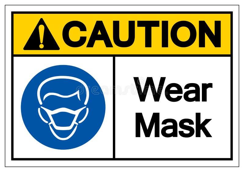 Tecken för symbol för varningsklädermaskering, vektorillustration, isolat på den vita bakgrundsetiketten EPS10 vektor illustrationer