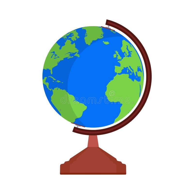 Tecken för symbol för vektor för värld för jordklotjordöversikt Global form för loppplanetsfär Plan enkel utbildningssymbolkartbo vektor illustrationer