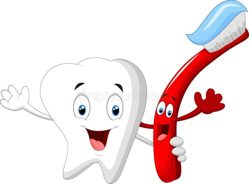 Tecken för tand- tand- och tandborstetecknad film stock illustrationer
